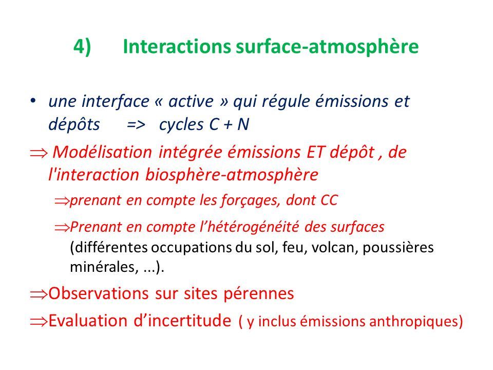 4) Interactions surface-atmosphère