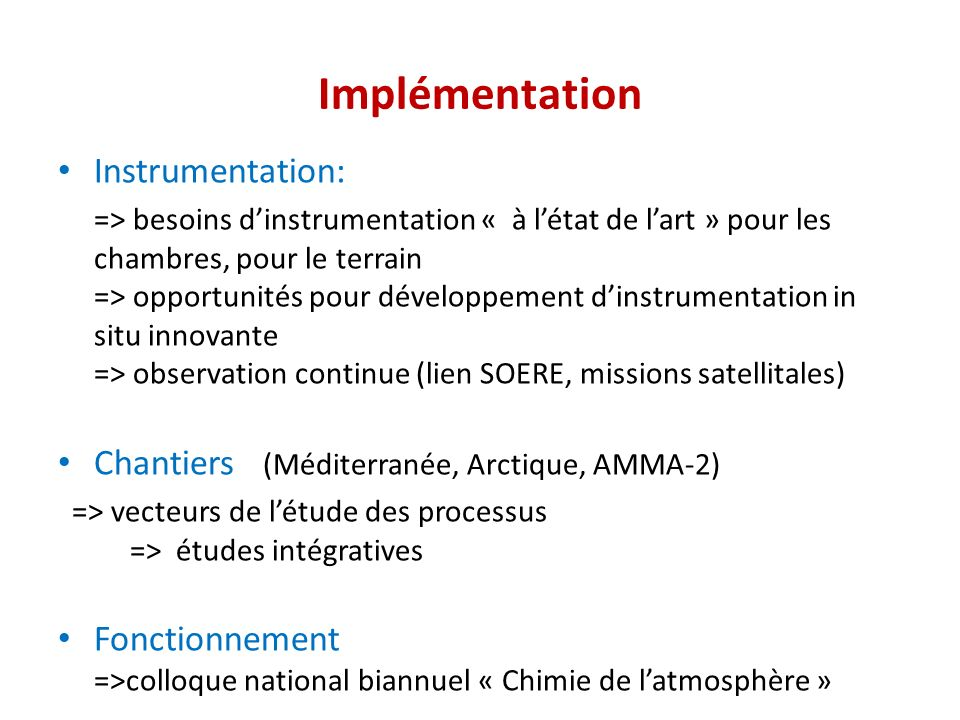 Implémentation Instrumentation: