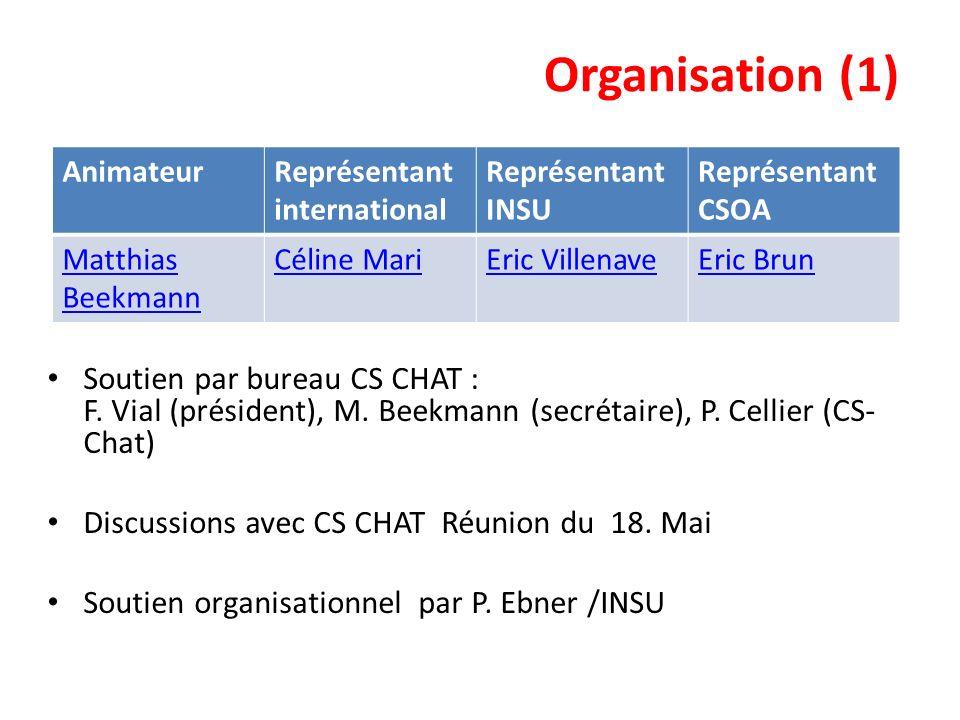 Organisation (1) Soutien par bureau CS CHAT : F. Vial (président), M. Beekmann (secrétaire), P. Cellier (CS-Chat)
