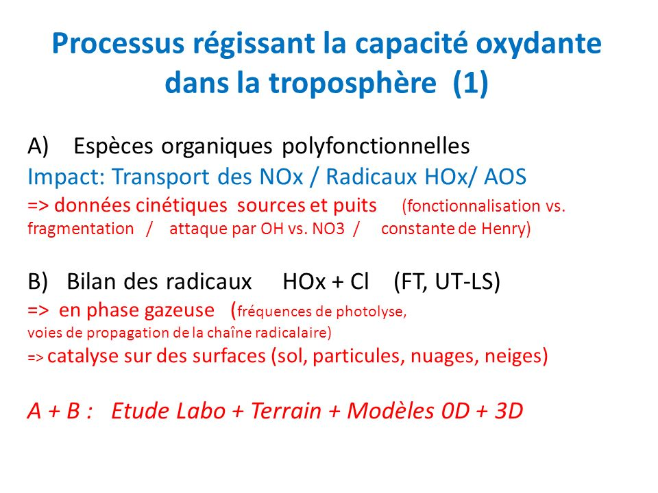Processus régissant la capacité oxydante dans la troposphère (1)