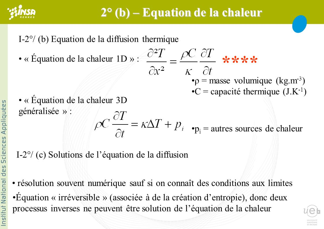 2° (b) – Equation de la chaleur
