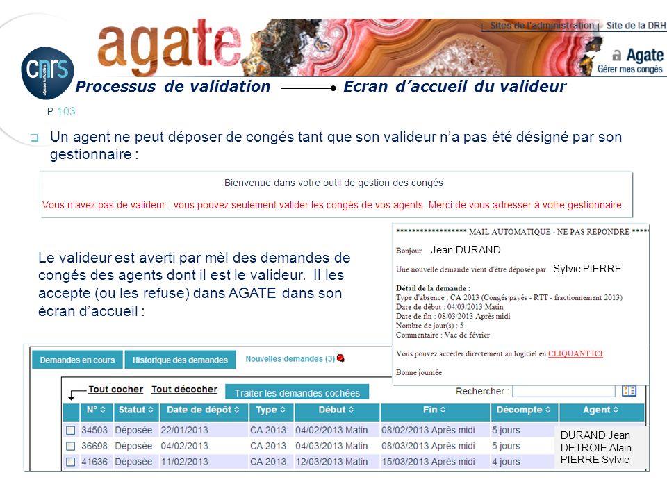 Processus de validation Ecran d'accueil du valideur