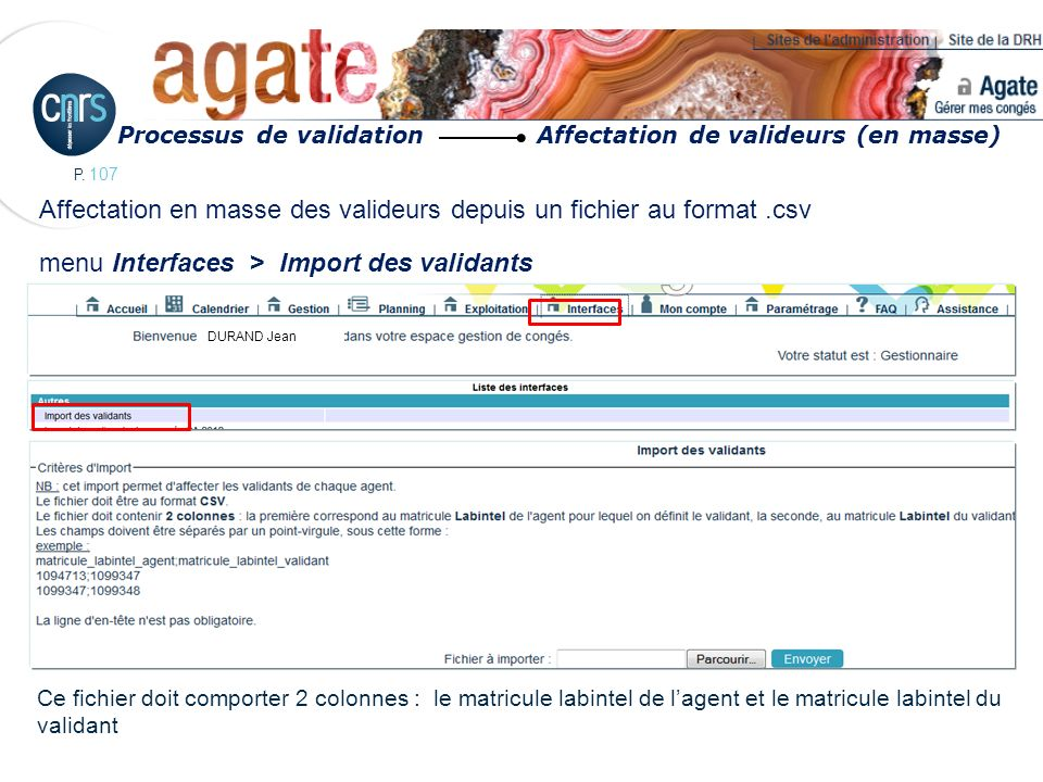 Processus de validation Affectation de valideurs (en masse)