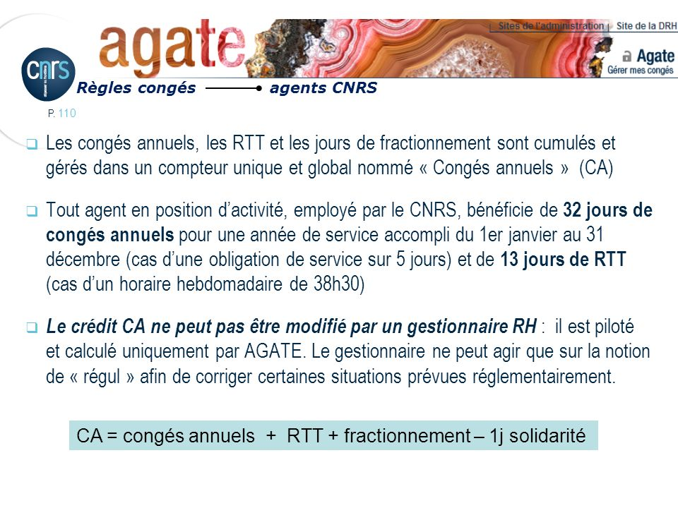 Règles congés agents CNRS