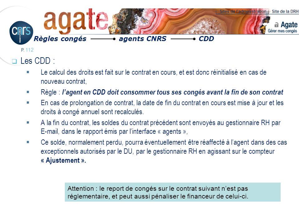 Règles congés agents CNRS CDD