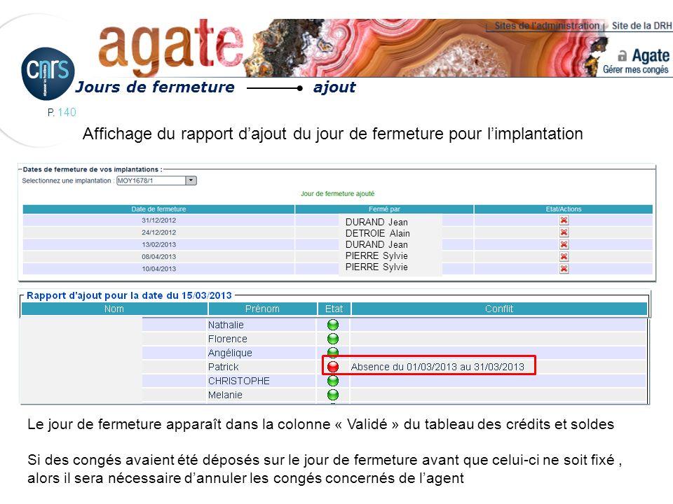 Affichage du rapport d'ajout du jour de fermeture pour l'implantation
