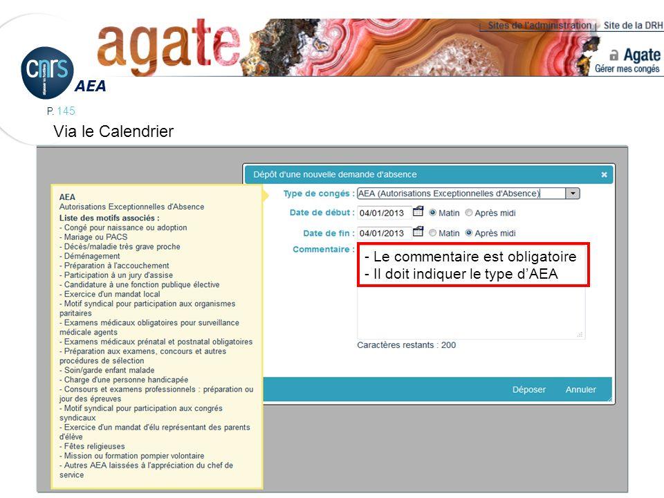 Via le Calendrier AEA - Le commentaire est obligatoire