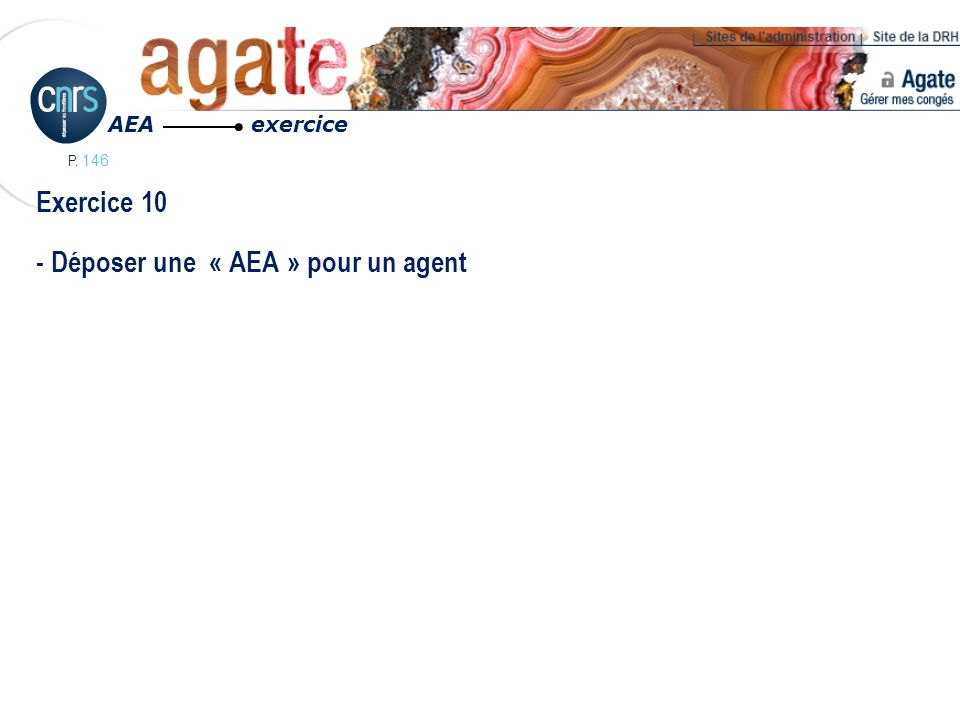 Exercice 10 - Déposer une « AEA » pour un agent