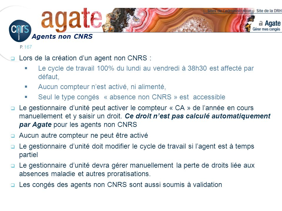 Lors de la création d'un agent non CNRS :