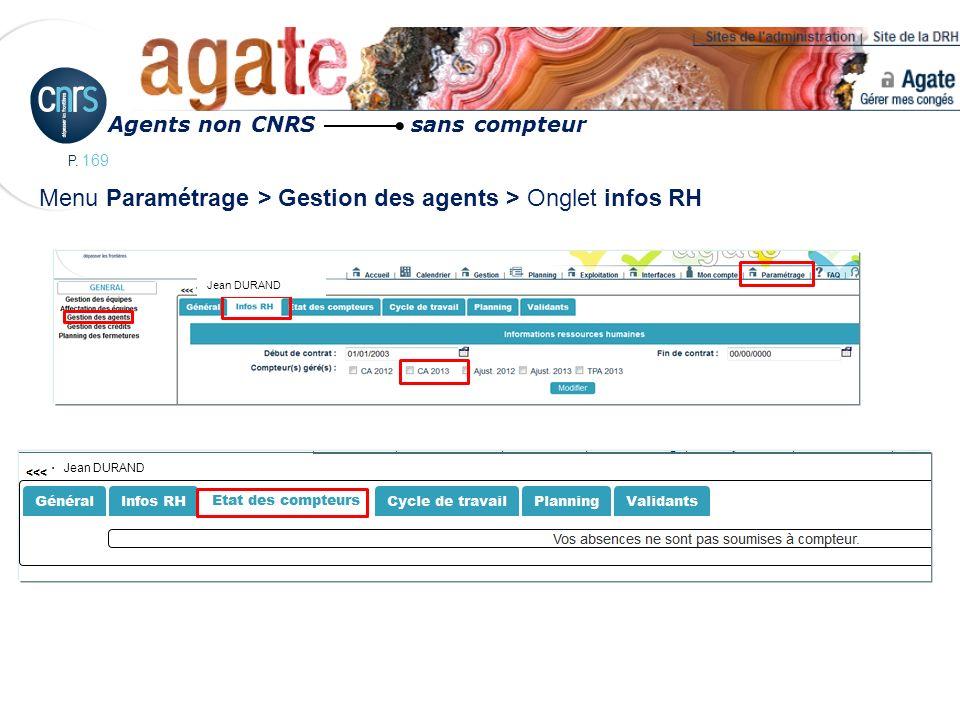 Menu Paramétrage > Gestion des agents > Onglet infos RH