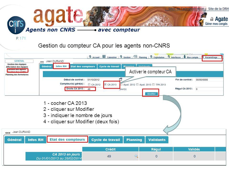 Gestion du compteur CA pour les agents non-CNRS