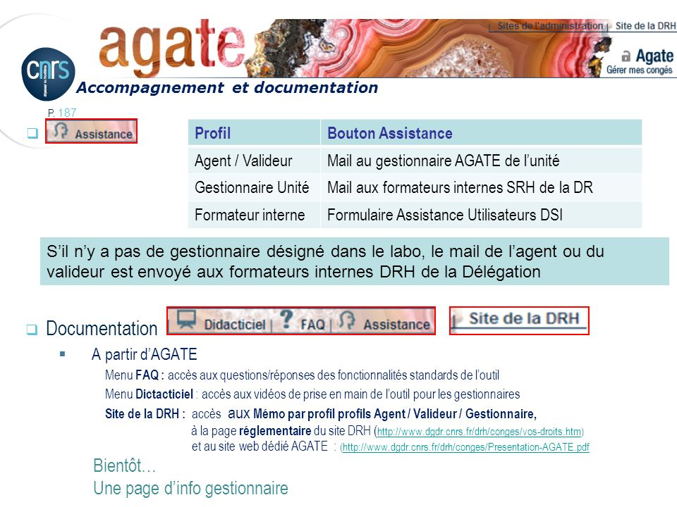 Assistance Documentation Bientôt… Une page d'info gestionnaire Profil