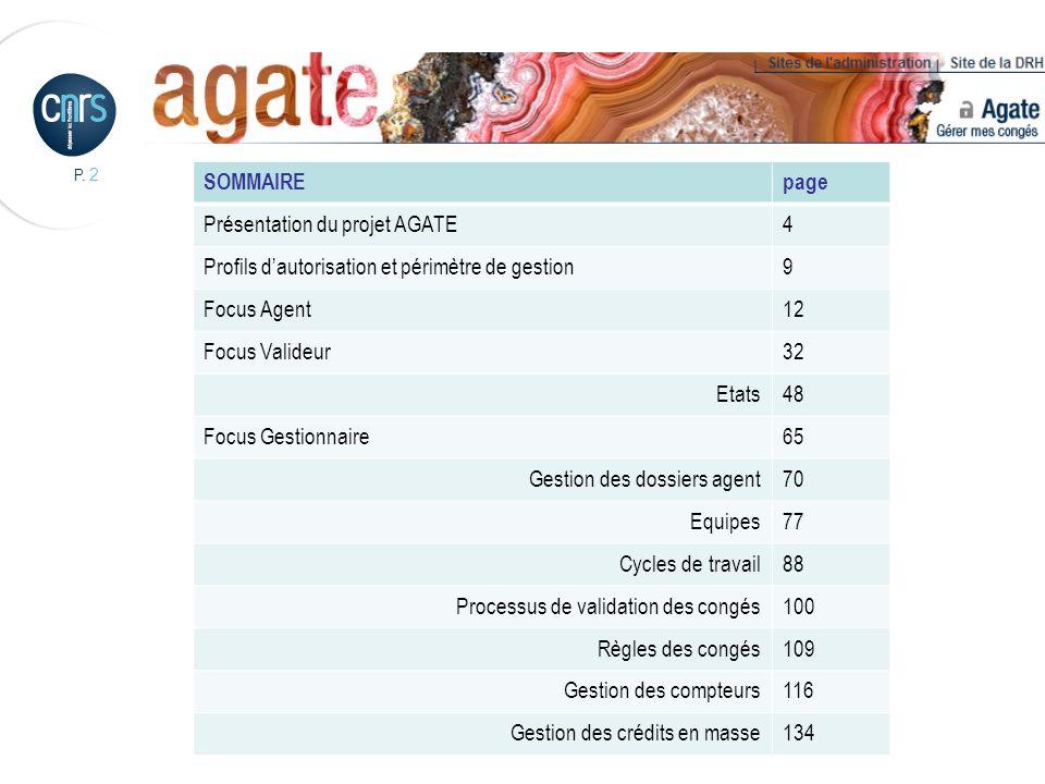 SOMMAIRE page. Présentation du projet AGATE. 4. Profils d'autorisation et périmètre de gestion. 9.