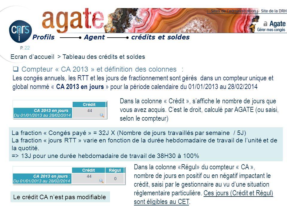 Compteur « CA 2013 » et définition des colonnes :