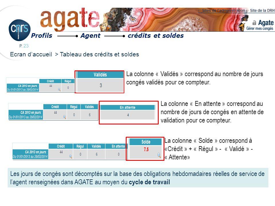 Profils Agent crédits et soldes