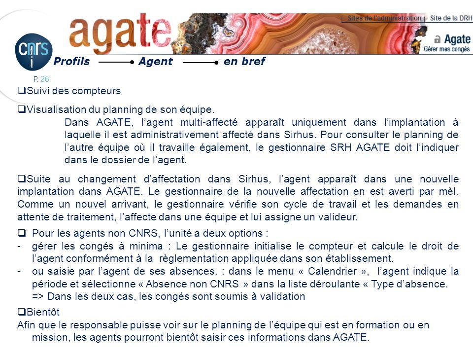 Profils Agent en bref Suivi des compteurs. Visualisation du planning de son équipe.