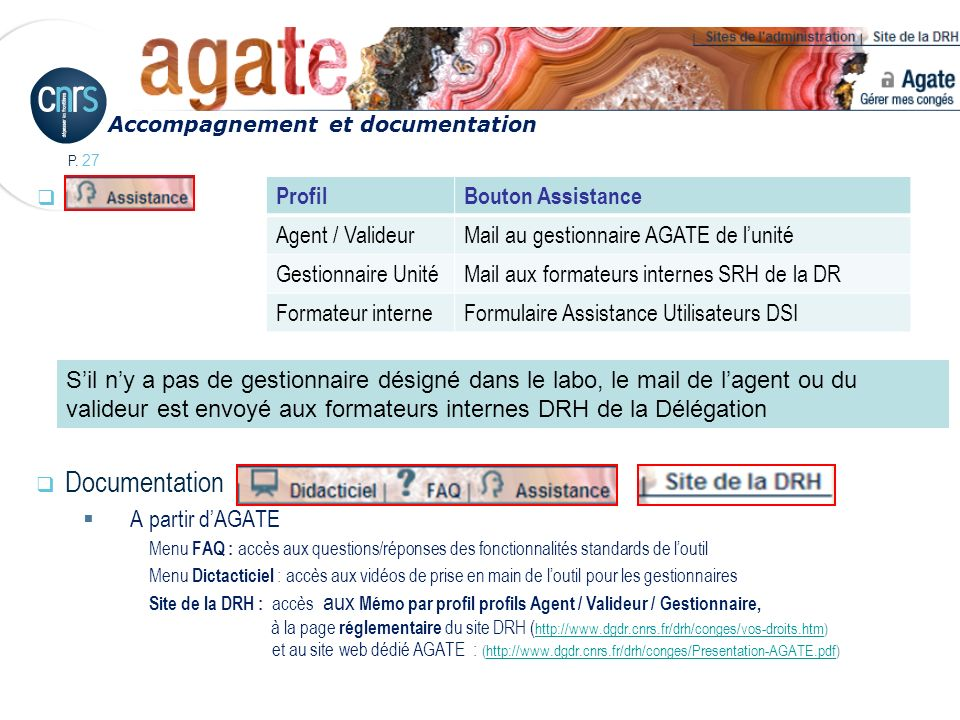 Assistance Documentation Profil Bouton Assistance Agent / Valideur