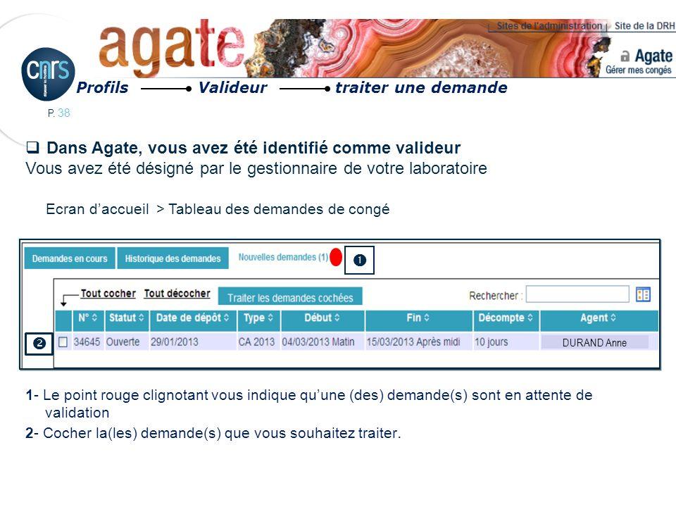 Dans Agate, vous avez été identifié comme valideur