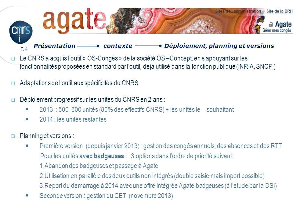 Adaptations de l'outil aux spécificités du CNRS