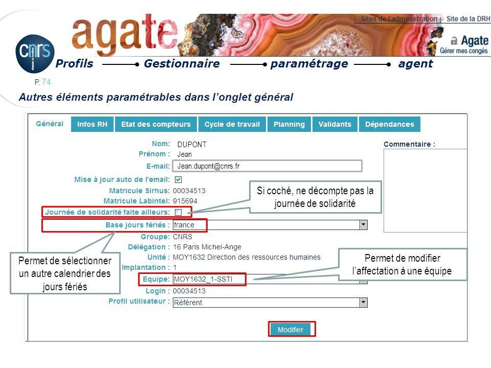 Profils Gestionnaire paramétrage agent