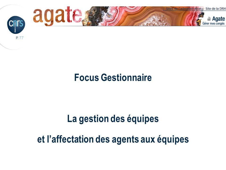 Focus Gestionnaire La gestion des équipes et l'affectation des agents aux équipes