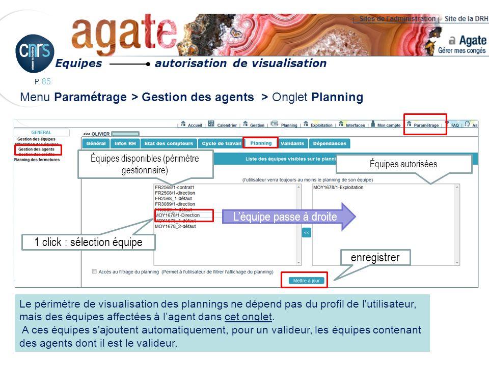 Menu Paramétrage > Gestion des agents > Onglet Planning