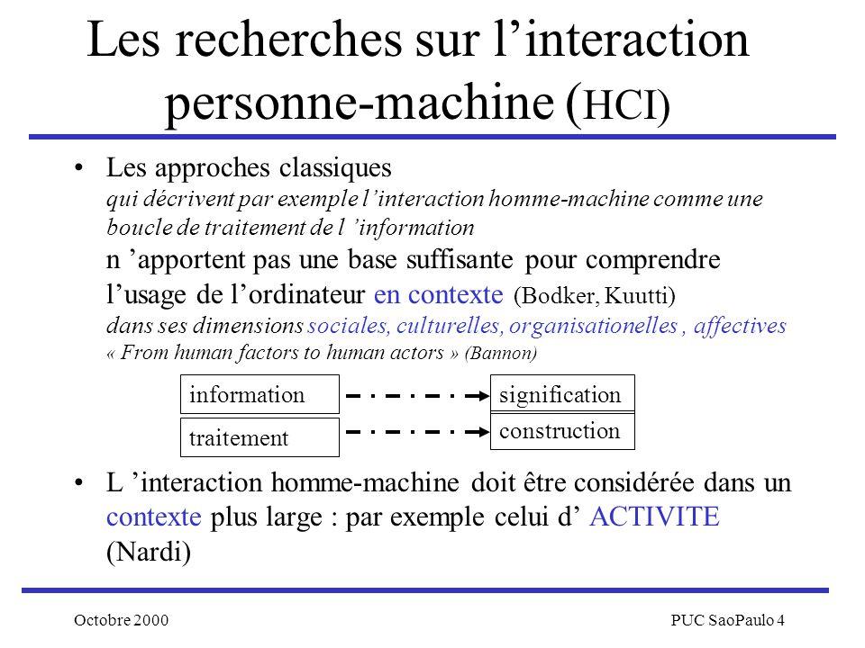 Les recherches sur l'interaction personne-machine (HCI)