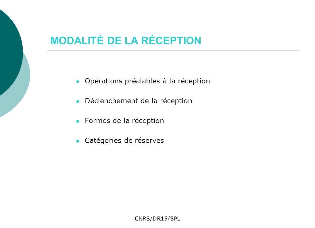 MODALITÉ DE LA RÉCEPTION