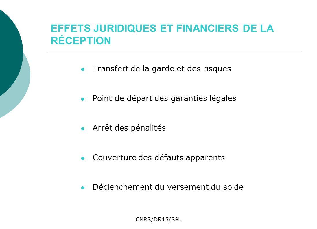EFFETS JURIDIQUES ET FINANCIERS DE LA RÉCEPTION