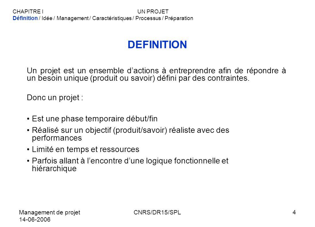 CHAPITRE I UN PROJETDéfinition / Idée / Management / Caractéristiques / Processus / Préparation. DEFINITION.