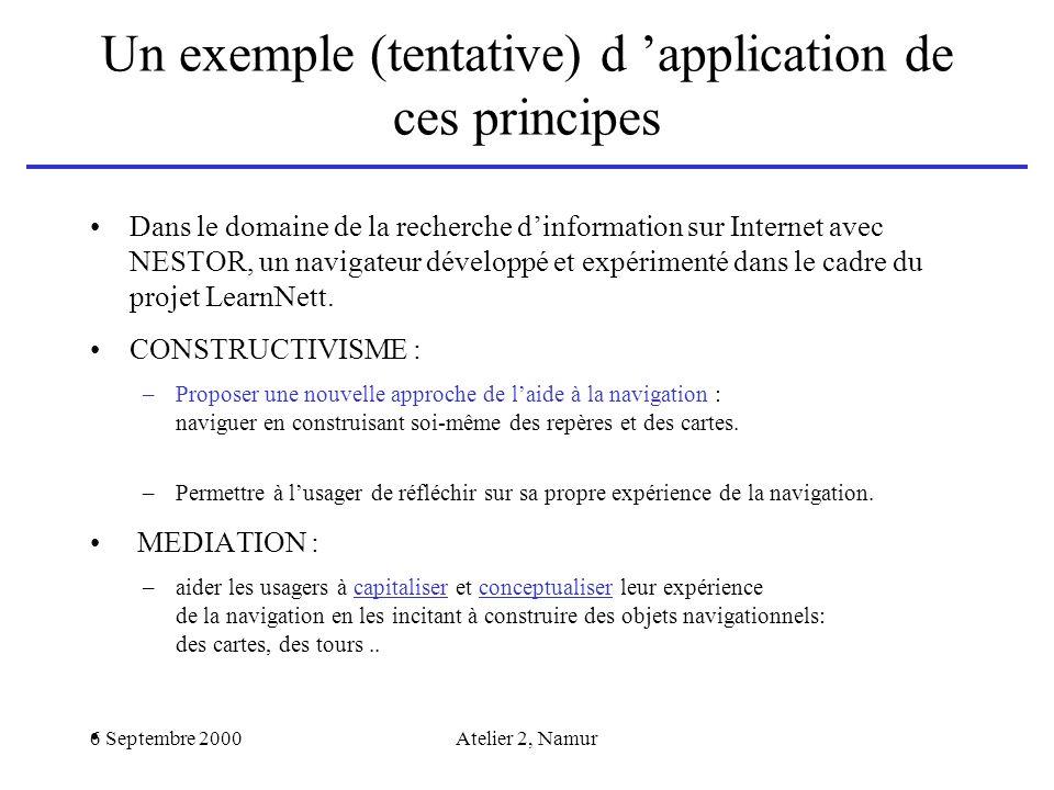Un exemple (tentative) d 'application de ces principes