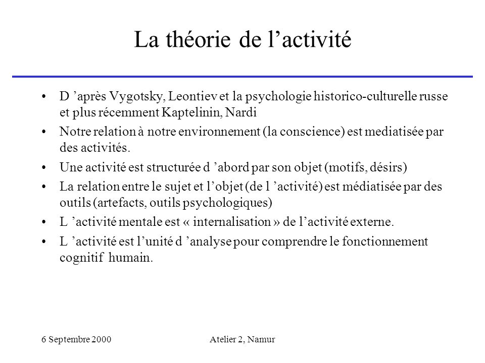 La théorie de l'activité