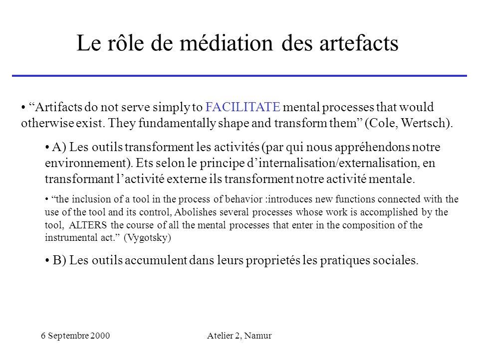 Le rôle de médiation des artefacts