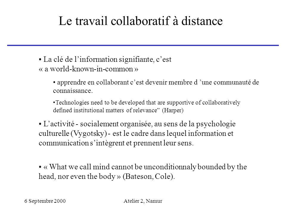 Le travail collaboratif à distance
