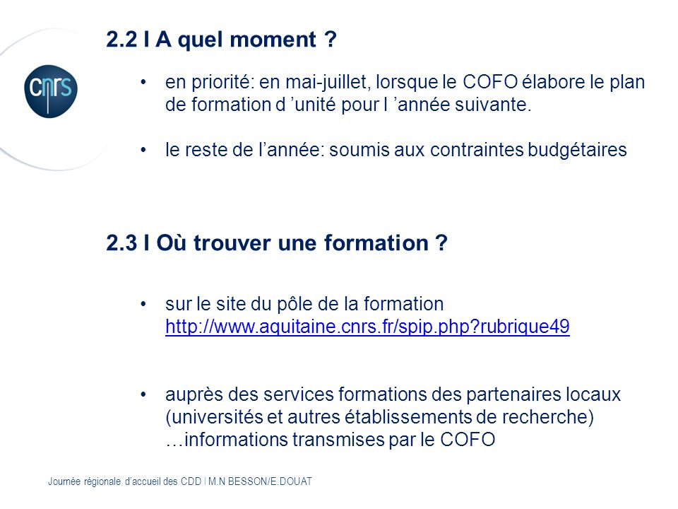 2.3 I Où trouver une formation