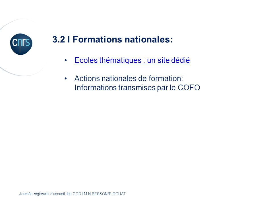 3.2 I Formations nationales: