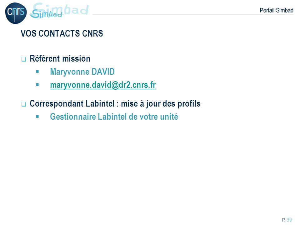 VOS CONTACTS CNRS Référent mission. Maryvonne DAVID. maryvonne.david@dr2.cnrs.fr. Correspondant Labintel : mise à jour des profils.