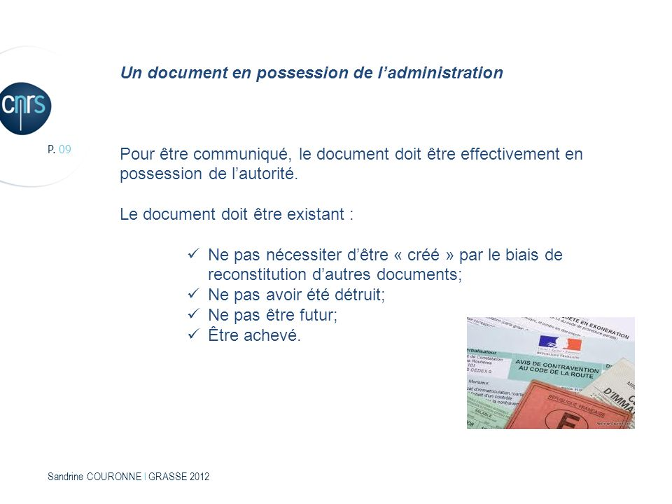 Un document en possession de l'administration