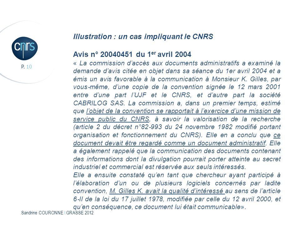 Illustration : un cas impliquant le CNRS