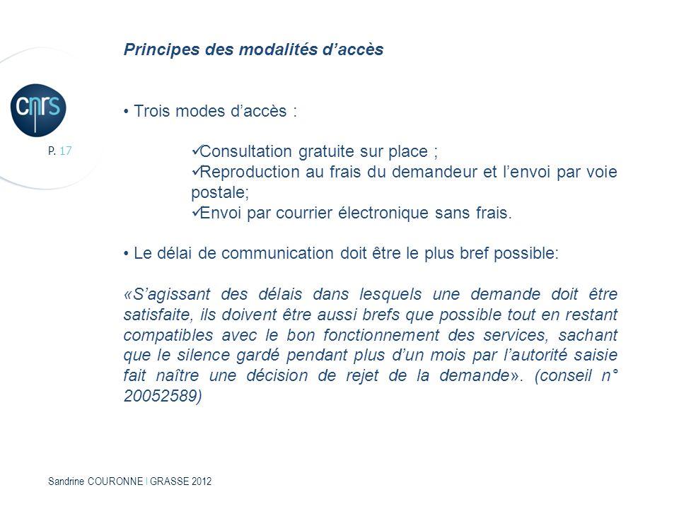 Principes des modalités d'accès