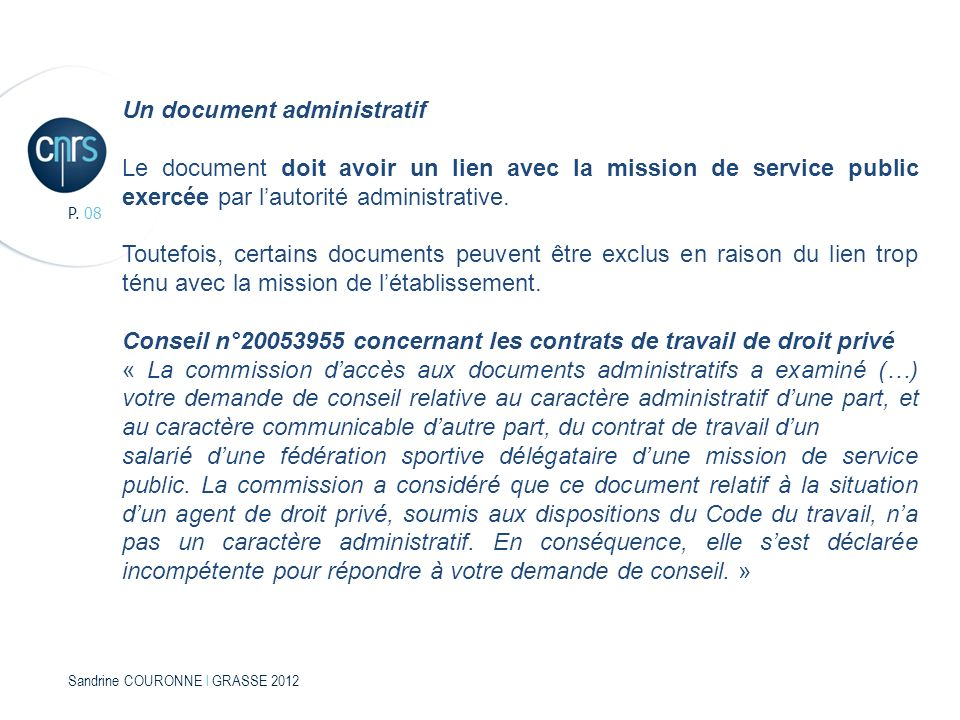 Un document administratif