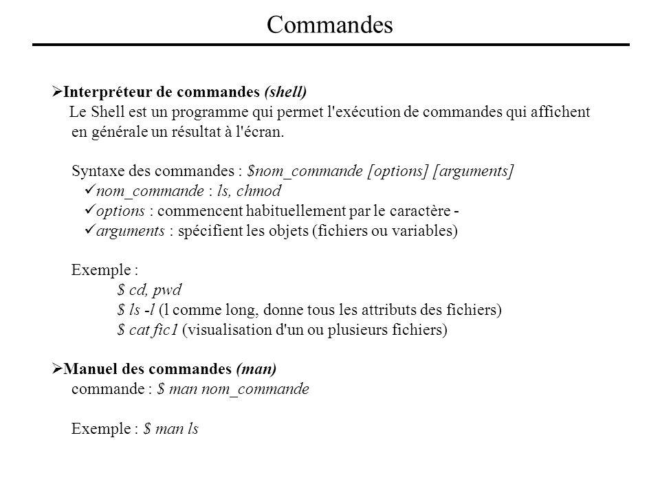 Commandes Interpréteur de commandes (shell)