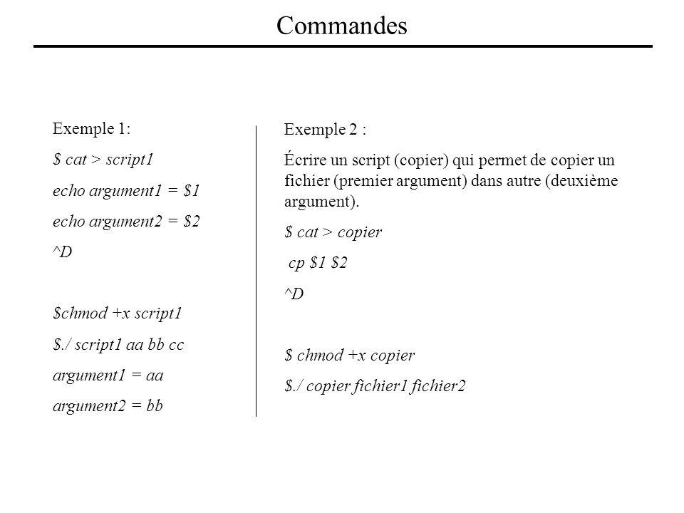 Commandes Exemple 1: Exemple 2 : $ cat > script1