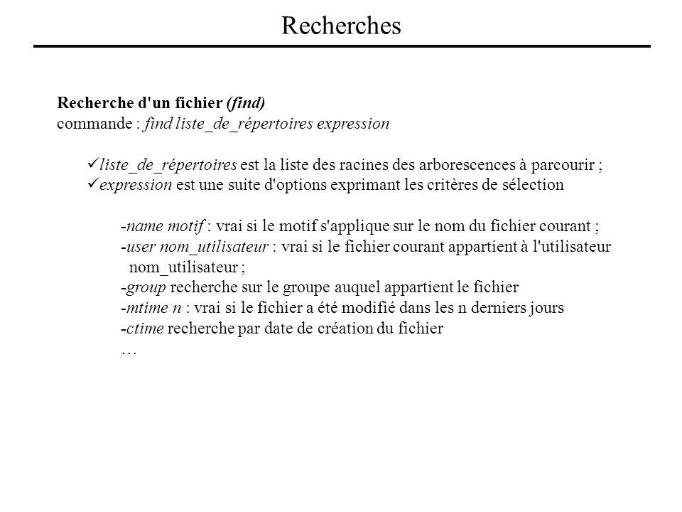 Recherches Recherche d un fichier (find)