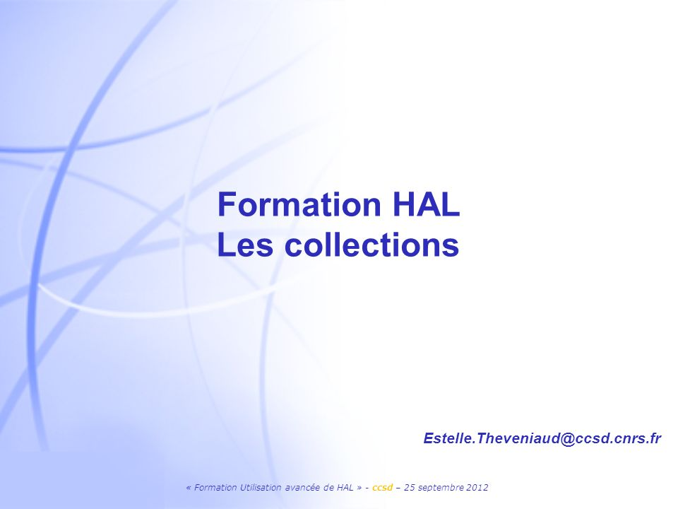 Formation HAL Les collections