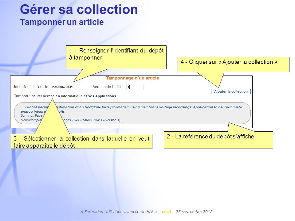 Gérer sa collection Tamponner un article