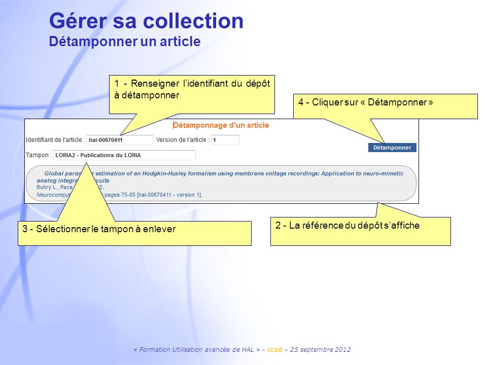 Gérer sa collection Détamponner un article