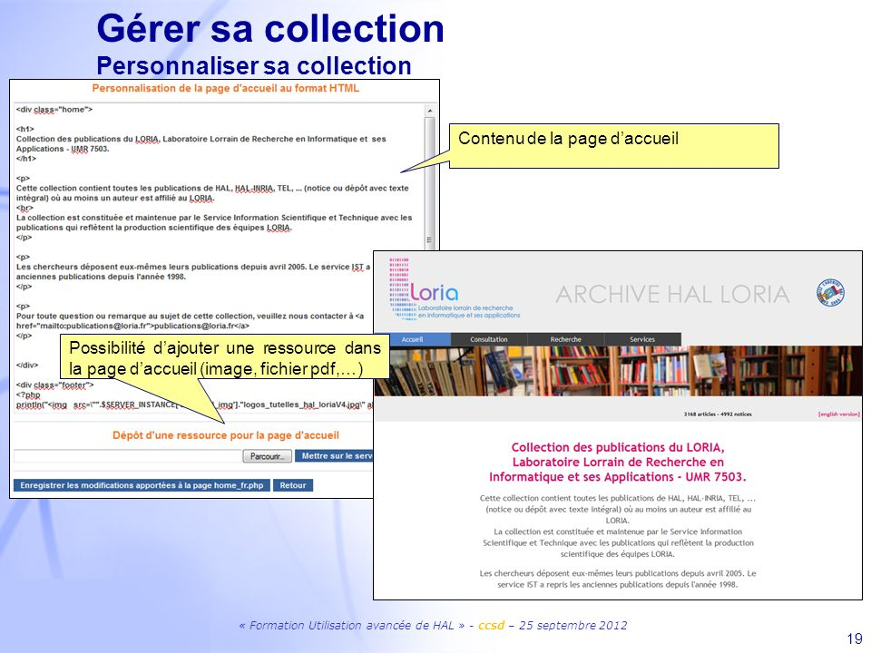 Gérer sa collection Personnaliser sa collection