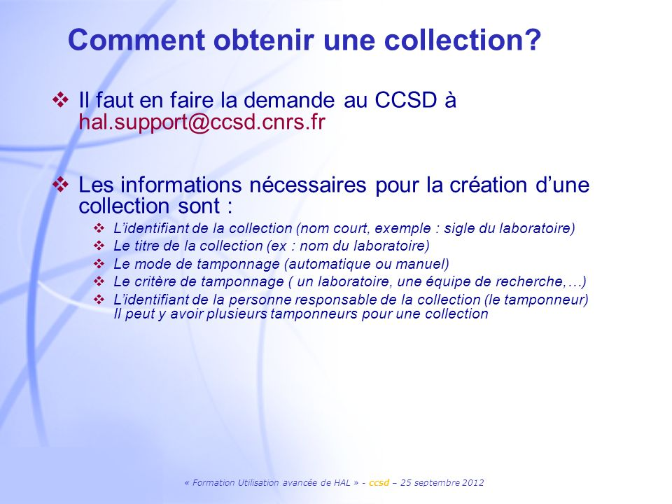 Comment obtenir une collection