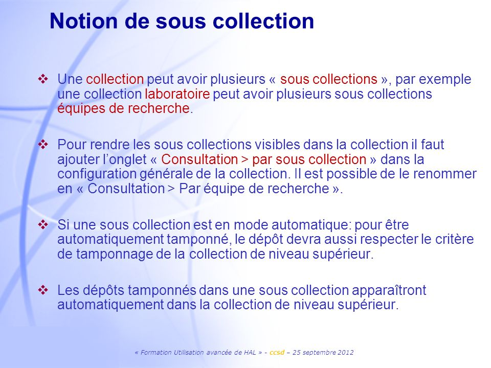 Notion de sous collection